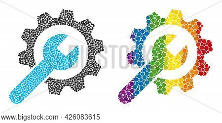 Service Wheel Composition Icon Of Spheric Dots In Various Sizes And Rainbow Color Tones. A Dotted Lg