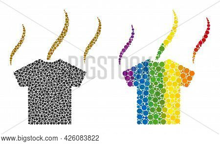 Smell T-shirt Composition Icon Of Circle Elements In Various Sizes And Rainbow Colored Color Hues. A