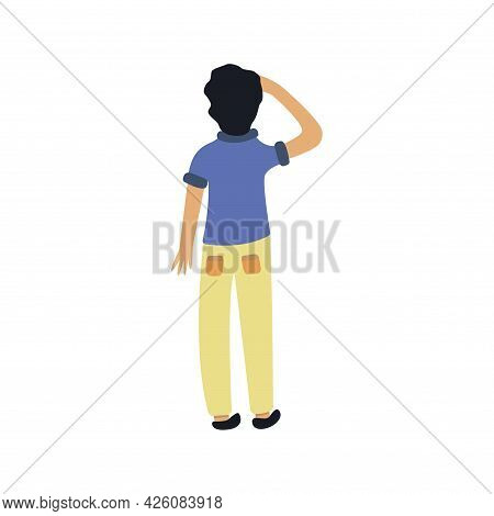 Man Looks Up, Shielding His Eyes From The Light With His Hand. Back View. Colorful Isolated Vector I