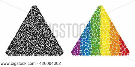 Rounded Triangle Composition Icon Of Spheric Blots In Various Sizes And Spectrum Color Tints. A Dott