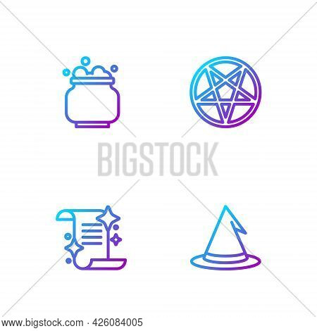Set Line Witch Hat, Ancient Magic Book, Cauldron And Pentagram In Circle. Gradient Color Icons. Vect