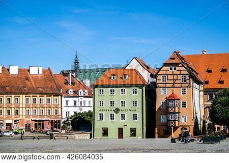 Cheb, Czech Republic - July 7, 2021: Spalicek - Complex Of Medieval Houses, Town Cheb, West Bohemia,