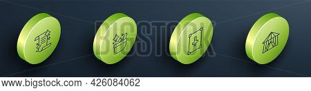 Set Isometric Line Ancient Magic Book, Witch Cauldron, And Circus Tent Icon. Vector