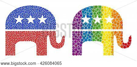Republican Elephant Mosaic Icon Of Round Dots In Various Sizes And Rainbow Bright Color Tints. A Dot