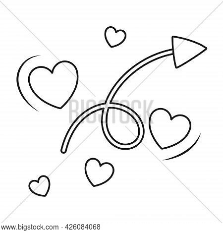Simple Vector Black And White Icon. Cupid Arrow With A Curl And Flying Hearts. Sticker For Valentine
