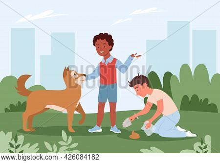 People Cleanup Poo After Dog, Pet Standing On City Park Green Grass With Pet Owners