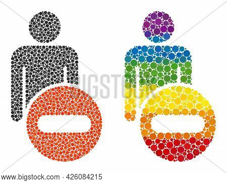 Remove Man Figure Mosaic Icon Of Circle Elements In Different Sizes And Spectrum Colored Color Tinge
