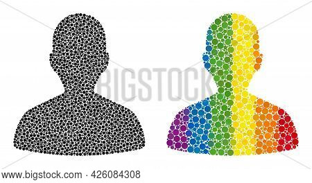 Person Profile Mosaic Icon Of Circle Elements In Various Sizes And Rainbow Bright Color Hues. A Dott