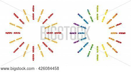 Shine Rays Collage Icon Of Round Dots In Variable Sizes And Spectrum Colored Color Tones. A Dotted L