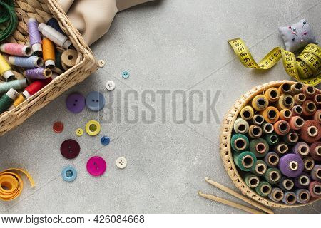 Top View Copy Space Surrounded By Needlework. High Quality Beautiful Photo Concept