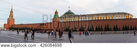 Moscow, Russia - May 24, 2021: Spasskaya Tower, Senate Building And Kremlin Walls On Red Square - Pa