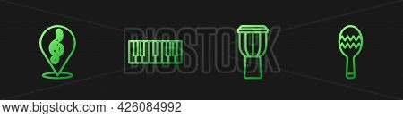 Set Line Drum, Treble Clef, Music Synthesizer And Maracas. Gradient Color Icons. Vector