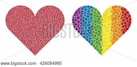 Playing Card Heart Suit Composition Icon Of Round Items In Different Sizes And Rainbow Colorful Colo
