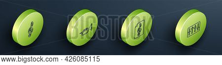 Set Isometric Line Treble Clef, Trumpet, And Sound Mixer Controller Icon. Vector