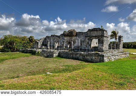 The Great Palace In The Mayan City Archaeological Site Of Tulum, Mexico.