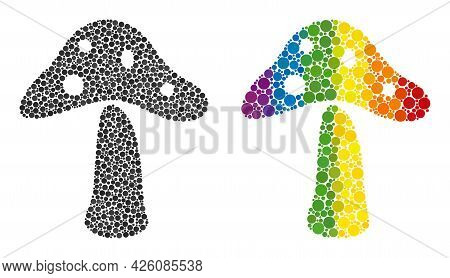 Toxic Mushroom Mosaic Icon Of Spheric Blots In Various Sizes And Rainbow Color Hues. A Dotted Lgbt-c