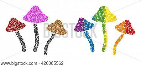 Psychedelic Mushrooms Mosaic Icon Of Round Items In Different Sizes And Rainbow Color Tints. A Dotte