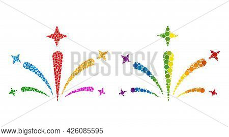 Salute Fireworks Collage Icon Of Circle Elements In Various Sizes And Rainbow Bright Color Tinges. A