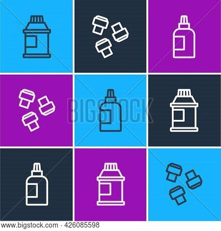 Set Line Paint, Gouache, Jar, Dye, And Marker Pen Attachment Icon. Vector