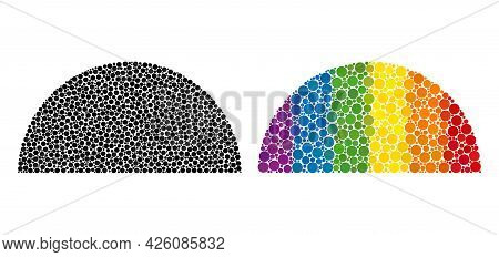 Semisphere Collage Icon Of Circle Elements In Variable Sizes And Spectrum Colored Color Tints. A Dot