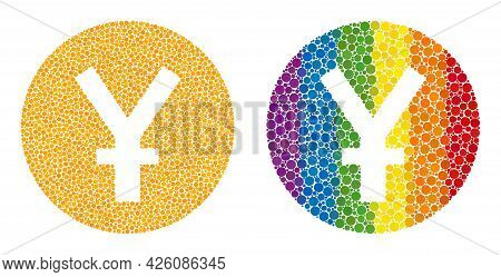 Yuan Coin Mosaic Icon Of Spheric Dots In Various Sizes And Spectrum Color Hues. A Dotted Lgbt-colore