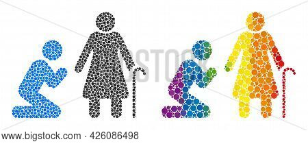 Man Pray For Grandmother Mosaic Icon Of Filled Circles In Different Sizes And Rainbow Color Tones. A