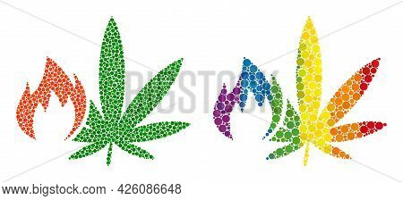 Hot Cannabis Composition Icon Of Round Dots In Various Sizes And Spectrum Bright Color Tints. A Dott