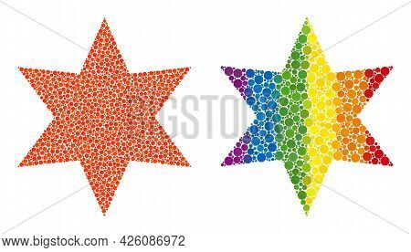 Six Pointed Star Composition Icon Of Round Items In Variable Sizes And Rainbow Colorful Color Tints.