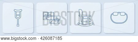 Set Line Crutch Or Crutches, Rocking Chair, Monitor With Cardiogram And Eyeglasses. White Square But