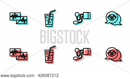 Set Line Blood Pressure, Monitor With Cardiogram, Glass Water And Grandfather Icon. Vector