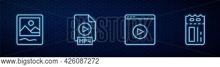 Set Line Online Play Video, Photo Frame, Mp4 File Document And Cinema Ticket. Glowing Neon Icon On B