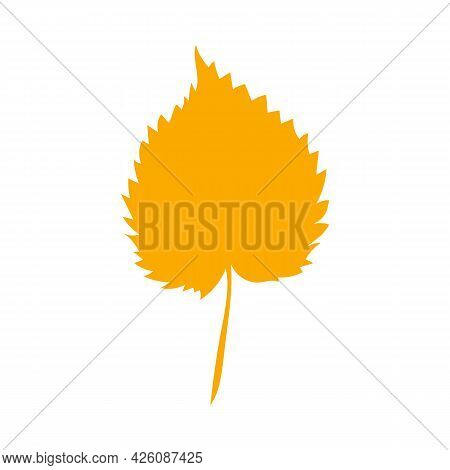 Simple Autumn Leaf, Herbal Element. Fall Orange Linden Leaf. Can Be Used As Sign, Symbol, Icon. Autu
