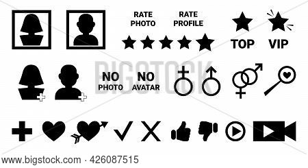 Set Of Simple Black Icons For Dating Site, For Social Networks, For Communication On Internet. Black