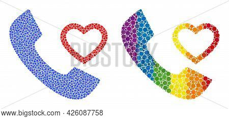 Love Phone Receiver Mosaic Icon Of Circle Spots In Various Sizes And Spectrum Colored Color Tints. A