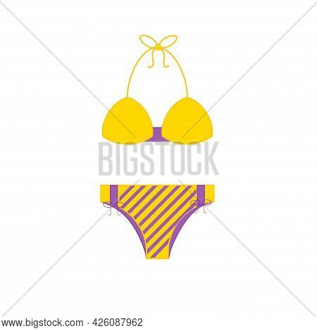 Two Piece Bikini Panties And Bikini Bra Swimsuit In Violet Yellow Color. Summer Time, Concept Of Tim
