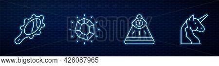 Set Line Masons, Magic Hand Mirror, Stone And Unicorn. Glowing Neon Icon On Brick Wall. Vector