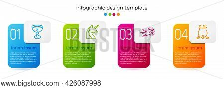 Set Line Medieval Goblet, Unicorn, Fireball And Witch Cauldron. Business Infographic Template. Vecto