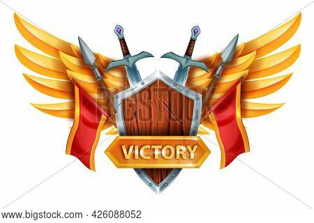 Game Victory Ui Design Element, Vector Winner Rpg Logo Concept, Wooden Knight Shield, Golden Wings.