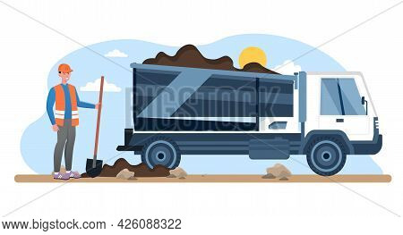 Road Repair Concept. A Worker In A Helmet And Vest Levels The Road Surface Next To A Truck. Quarry T