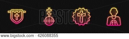 Set Line Christian Cross, Flag With Christian, And Hands In Praying Position. Glowing Neon Icon. Vec