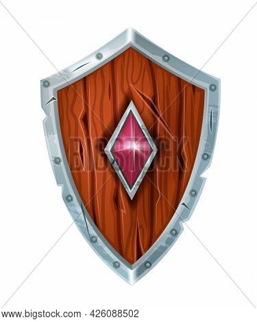 Wooden Game Knight Shield Icon, Vector Viking Fantasy Warrior Medieval Armor On White, Gem Stone. Ca