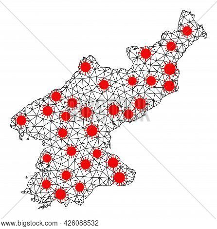 Mesh Polygonal Map Of North Korea Under Infection. Vector Model Is Created From Map Of North Korea W