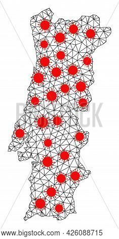 Carcass Polygonal Map Of Portugal Under Outbreak. Vector Structure Is Created From Map Of Portugal W