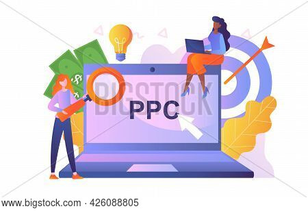 Pay Per Click Concept. Characters Next To A Large Laptop Point To The Inscription Ppc. Girls With A
