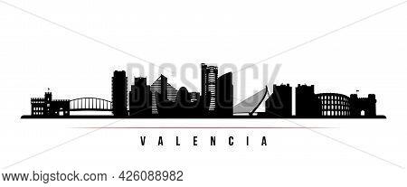 Valencia Skyline Horizontal Banner. Black And White Silhouette Of Valencia, Spain. Vector Template F