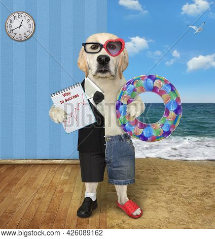 One Half Of A Dog Labrador In A Suit Holds A Notepad With A Chart And The Other Half In Shorts Holds