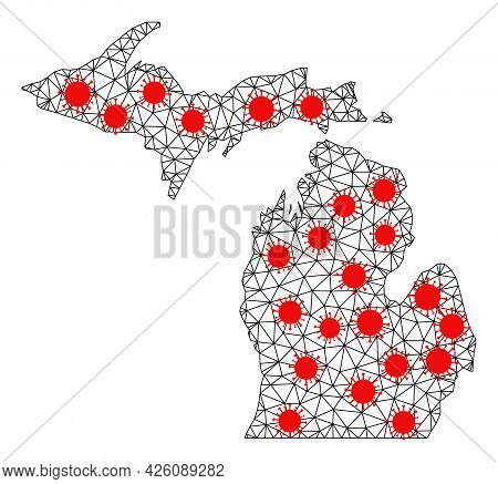 Wire Frame Polygonal Map Of Michigan State Under Lockdown. Vector Model Is Created From Map Of Michi