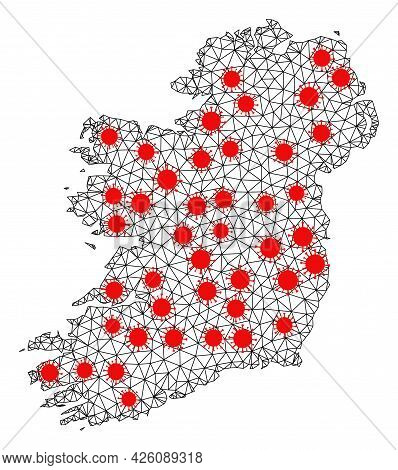 Wire Frame Polygonal Map Of Ireland Island Under Infection. Vector Structure Is Created From Map Of