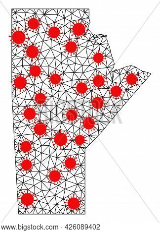 Network Polygonal Map Of Manitoba Province Under Infection. Vector Structure Is Created From Map Of