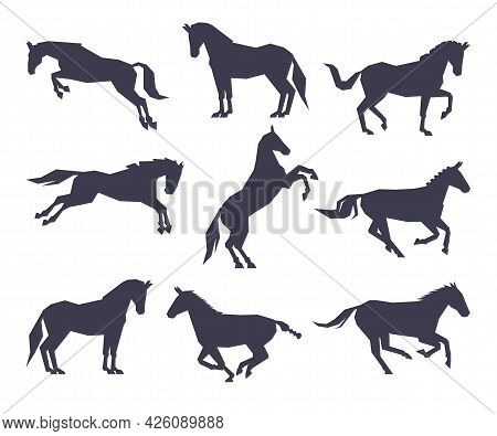 Side View Of Racing Horse Silhouettes Set, Equestrian Sport, Derby Vector Illustration